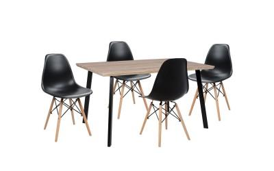 Комплект трапезна маса с четири стола Twist HM10346 - Сонома/Черен
