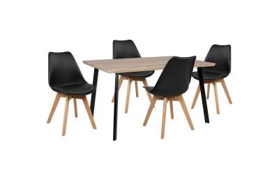 Комплект трапезна маса с четири стола Vegas HM10347 Сонома/Черен