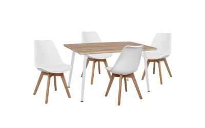 Комплект трапезна маса с четири стола Vegas HM10350.02 Сонома/Бяло