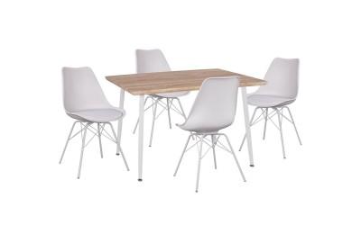 Комплект трапезна маса с четири стола Vegas HM11023.31 Сонома/Бяло