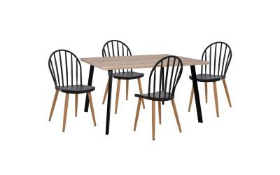 Комплект трапезна маса с четири стола HM11038 Сонома/Черен