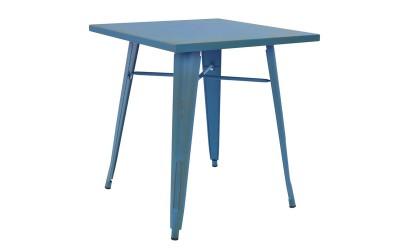 Трапезна маса HM0607.88 - 70/70/76 см. Синя с патина ефект