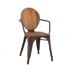 Метален стол с подлакътник Melita HM8053.04 - Ръждив цвят и дърво