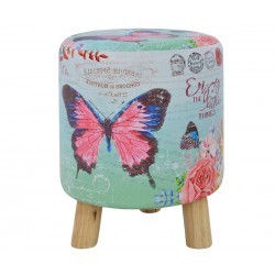 Кръгла табуретка с дървени крака Butterfly HM8157