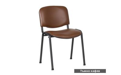 Посетителски стол Carmen 1131 Lux Еко кожа - Тъмно кафяв