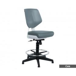 Работен офис стол Lab без подлакътници Еко кожа - Сив AS