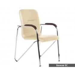 Посетителски стол Samba D с подлакътници Еко кожа - Бежов SC