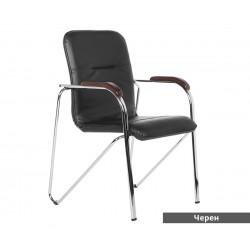 Посетителски стол Samba D с подлакътници Еко кожа - Черен SC