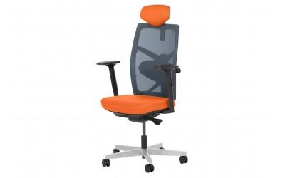 Ергономичен президентски офис стол FREDO с мрежа и подлакътници - Оранжев