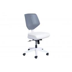 Работен офис стол Smart без подлакътници Еко кожа - Бял AS