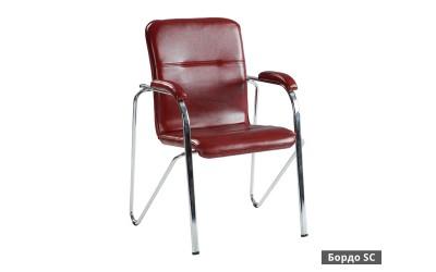 Посетителски стол Samba SC с подлакътници Еко кожа - Бордо SC