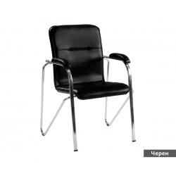 Посетителски стол Samba SC с подлакътници Еко кожа - Черен SC