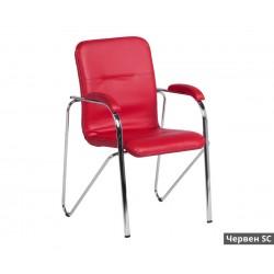 Посетителски стол Samba SC с подлакътници Еко кожа - Червен SC