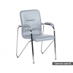 Посетителски стол Samba SC с подлакътници Еко кожа - Светло сив SC
