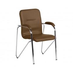 Посетителски стол Samba SC с подлакътници Еко кожа - Тъмно кафяв SC