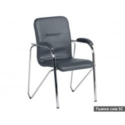 Посетителски стол Samba SC с подлакътници Еко кожа - Тъмно сив SC
