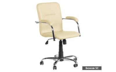 Работен офис стол Samba RC с подлакътници Еко кожа - Бежов SC
