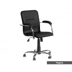 Работен офис стол Samba RC с подлакътници Еко кожа - Черен SC