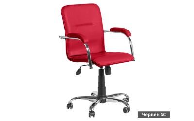 Работен офис стол Samba RC с подлакътници Еко кожа - Червен SC