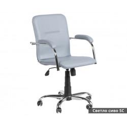 Работен офис стол Samba RC с подлакътници Еко кожа - Светло сив SC