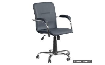 Работен офис стол Samba RC с подлакътници Еко кожа - Тъмно сив SC