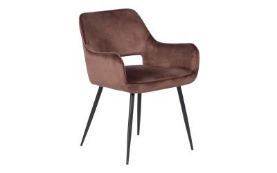 Тапициран трапезен стол с подлакътници REDCAR - шоколад BF 2