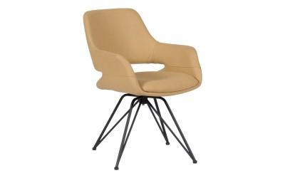 Тапициран трапезен стол с подлакътници TOTNES, въртене на седалката на 360° - жълт SF 1