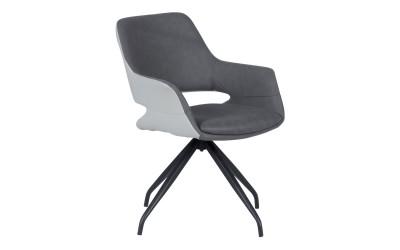 Тапициран трапезен стол с подлакътници WINSLOW, въртене на седалката на 360° - тъмносив SF 2