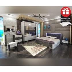 Спален комплект Арте 160/200 с LED осветление, включен матрак и подарък възглавници