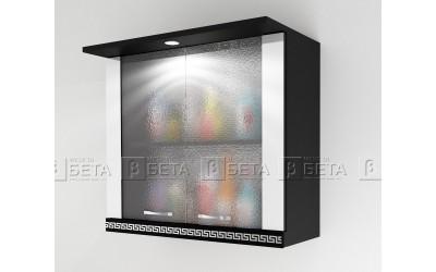Модул Г2 - горен шкаф за кухня Версаче с витрини и осветление - 80 см.