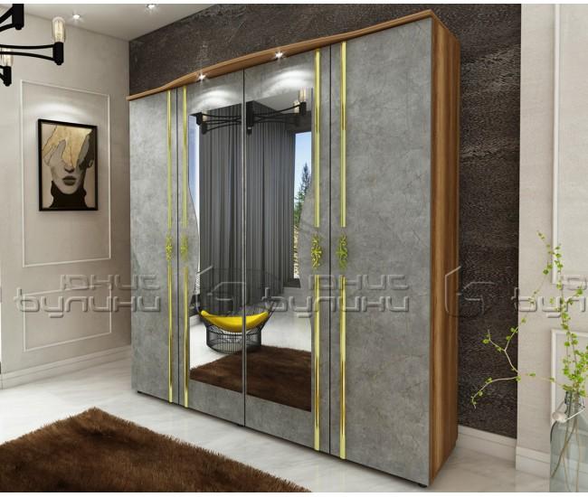 Гардероб от спален комплект Оскар - Златен мрамор/ Барок - 170 см. - с LED осветление