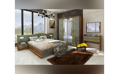 Спален комплект Оскар - Златен мрамор/ Барок - 160/200 см. - с LED осветление