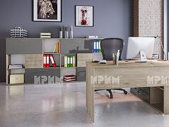 Модули за офис Гранд MDF - Сив кобалт гланц и Сонома Арвен 629