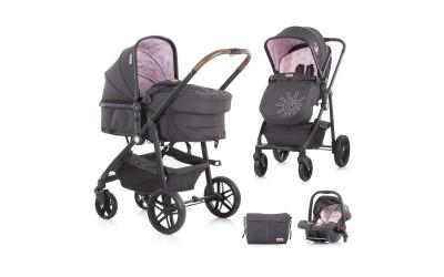 Комбинирана детска количка Адора - розов божур - Chipolino