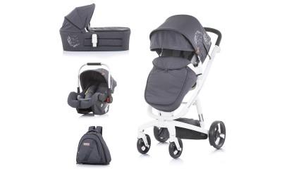 Комбинирана детска количка Електра 3 в 1 - сребърен принт/бяла рама - Chipolino