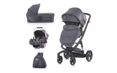 Комбинирана детска количка Електра 3 в 1 - сребърен принт/черна рама - Chipolino