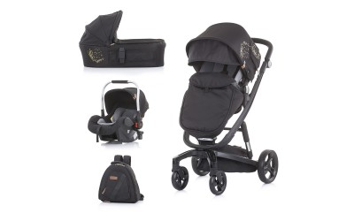 Комбинирана детска количка Електра 3 в 1 - златен принт/черна рама - Chipolino