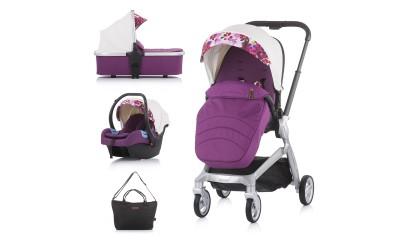 Комбинирана детска количка Emotion 3 в 1 - бяла/цветя - Chipolino