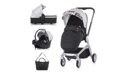 Комбинирана детска количка Emotion 3 в 1 - сребро - Chipolino