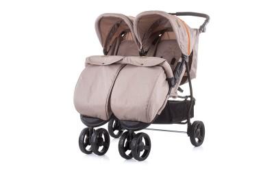 Детска количка за близнаци Макси Микс - лате - Chipolino