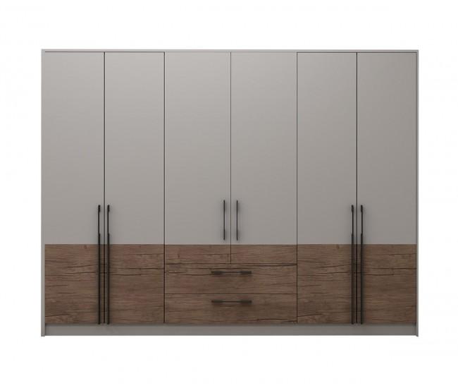 Модулен гардероб Калифорния- Конфигурация 3 - Бяло гланц/Антик/Бяло - 274 см.