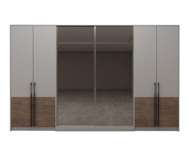 Модулен гардероб Калифорния- Конфигурация 4 - Бяло гланц/Антик/Бяло - 344 см.