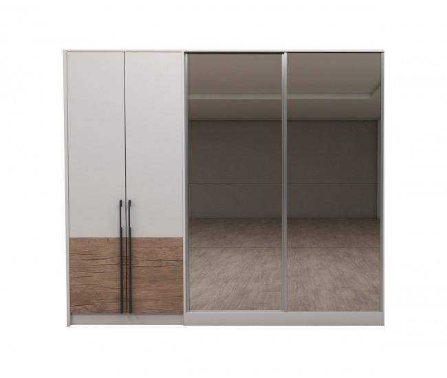 Модулен гардероб Калифорния- Конфигурация 5 - Бяло гланц/Антик/Бяло - 252 см.