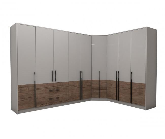 Модулен ъглов гардероб Калифорния- Конфигурация 7 - Бяло гланц/Антик/Бяло - 316*226 см.