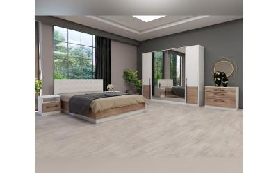 Спален комплект Калифорния- Конфигурация 1 - Бяло гланц/Антик/Бяло - 160/200 см.