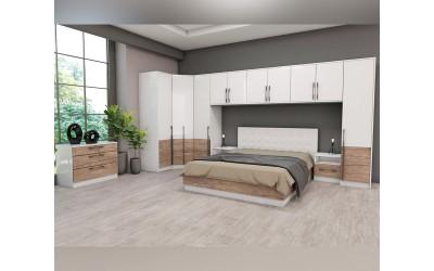 Спален комплект Калифорния- Конфигурация 3 - Бяло гланц/Антик/Бяло - 160/200 см.