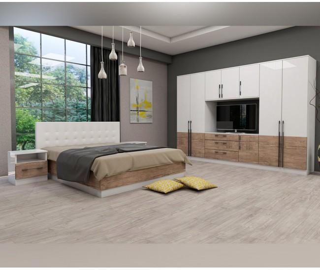 Спален комплект Калифорния- Конфигурация 4 - Бяло гланц/Антик/Бяло - 160/200 см.