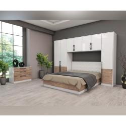 Спален комплект Калифорния- Конфигурация 5 - Бяло гланц/Антик/Бяло - 160/200 см.