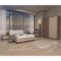 Спален комплект Карина - Тъмен британски дъб/Медна перла - 160/200 см.