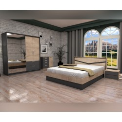 Спален комплект Виго 2 - Графит/Дъб елеганс  - 160/200 см. - с LED осветление